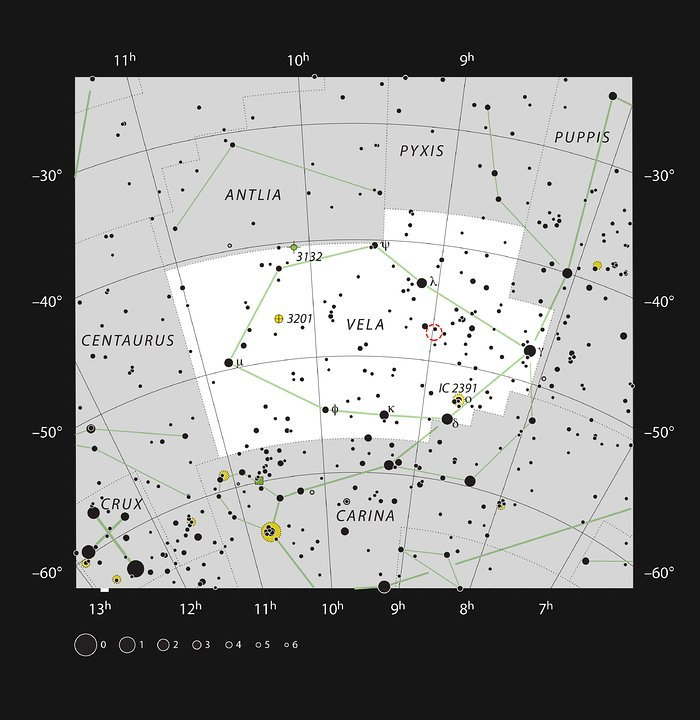 This chart shows the location of the dramatic star formation region RCW 38 in the constellation of Vela (The Sails). The map shows most of the stars visible to the unaided eye under good conditions, and the region of sky shown in this image is indicated. Credit: ESO, IAU and Sky & Telescope