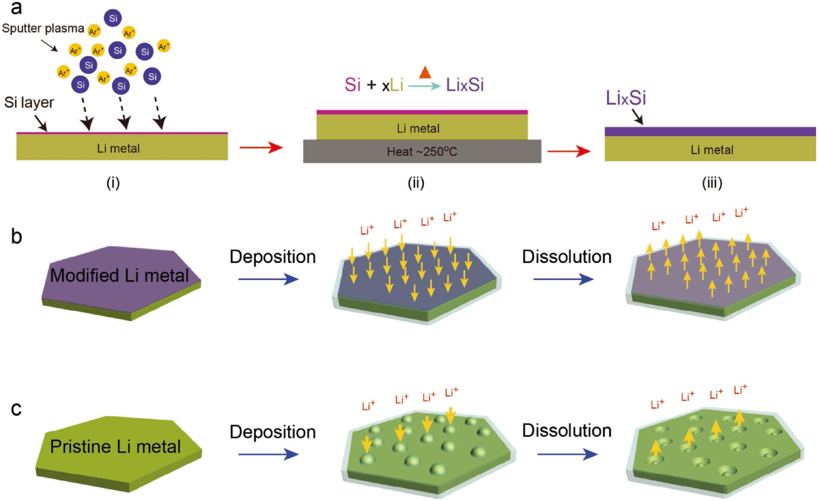 Schematic representation of the preparation process and electrochemical behavior of LixSi modified lithium foil