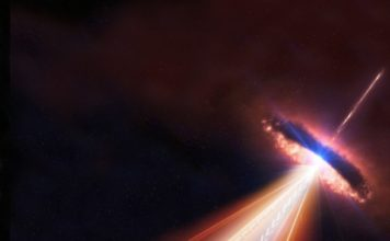 Blazars are a type of active galaxy with one one of its jets pointing toward us. In this artistic rendering, a blazar emits both neutrinos and gamma rays could be detected by the IceCube Neutrino Observatory as well as by other telescopes on Earth and in space. Credit: IceCube/NASA