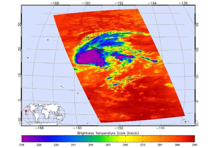 This image shows Hurricane Lane as observed by the Atmospheric Infrared Sounder (AIRS) instrument on NASA's Aqua satellite on Thursday, August 23