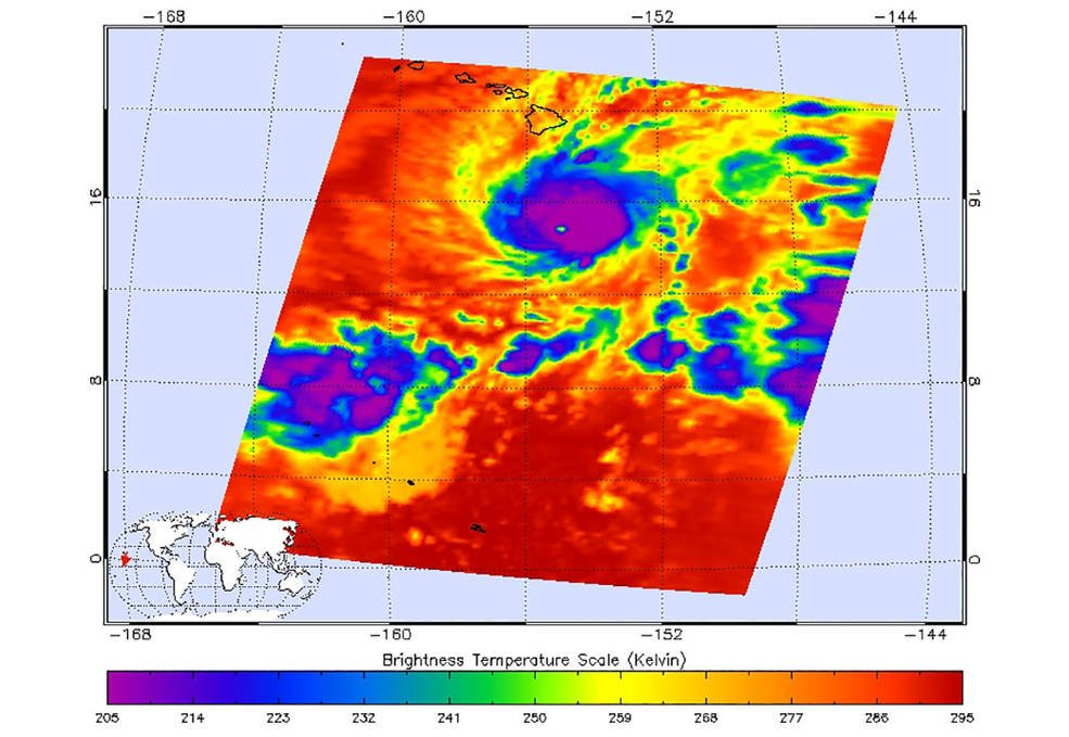 This image shows Hurricane Lane as observed by the Atmospheric Infrared Sounder (AIRS) instrument on NASA's Aqua satellite on Thursday, August 22.