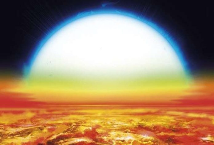 Artist's view of a sunset over KELT-9b. The nearby warm blue star covers 35° in the planet's sky, about 70 times the apparent size of the sun in the Earth's sky. Under this scorching sun, the planet's atmosphere is warm enough to shine in reddish-orange tones and vaporize heavy metals such as iron and titanium