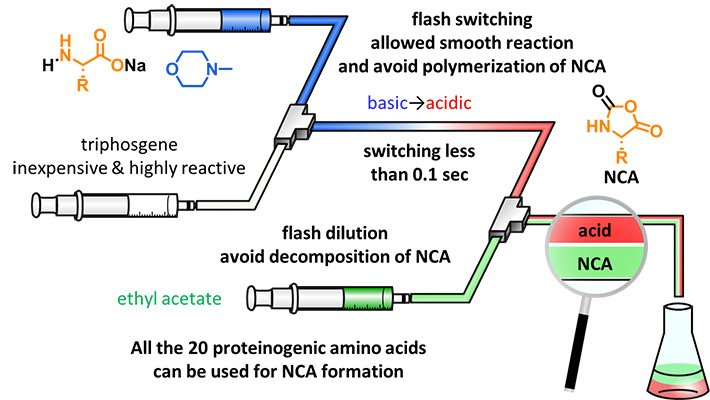 Proposed micro-flow technique for synthesizing NCAs. The proposed micro-flow technique is fast, scalable, and reliable for producing several types of NCAs using micro-flow reactors and flash switching of pH.