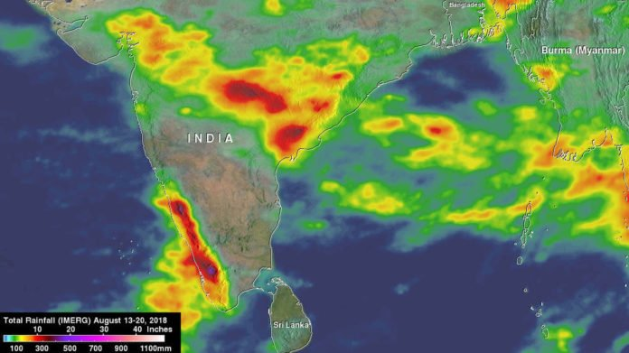 Rainfall accumulations from Aug. 13 to 20, 2018 showed two bands of heavy rain across India. The first band appeared much broader and extends across the northern part of the peninsula with weekly rainfall totals ranging from over 120 mm (~5 inches, in yellow) towards the western half of the peninsula to as much as 350 mm (~14 inches, in dark red) over parts of the eastern half towards the Bay of Bengal. The second band was more concentrated, intense and closely aligned with the southwest coast of India and the Western Ghats. Rainfall totals in this band are generally over 250 mm (~10 inches, in red) with embedded areas exceeding 400 mm (~16 inches, in purple). The maximum estimated value from IMERG in this band was 469 mm (~18.5 inches).
