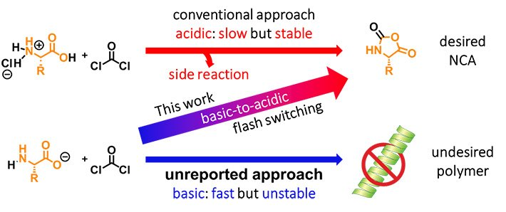 Three approaches for synthesizing NCAs. Approaches for synthesizing NCAs under acidic conditions (top), basic conditions (bottom), and basic-to-acidic conditions obtained via flash switching (middle). The approach proposed in this work benefits from the advantages of both the other approaches.