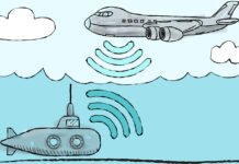 MIT Media Lab researchers have designed a system that allows underwater and airborne sensors to directly share data. An underwater transmitter directs a sonar signal to the water's surface, causing tiny vibrations that correspond to the 1s and 0s transmitted. Above the surface, a highly sensitive receiver reads these minute disturbances and decodes the sonar signal.