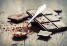 Closeup of Cocoa Powder and Dark Chocolate bar