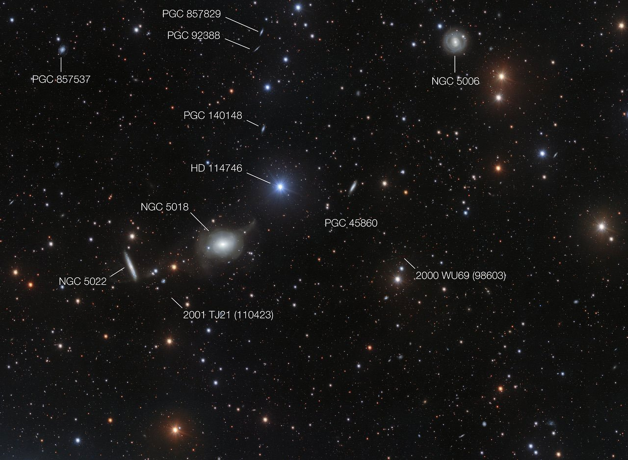 This annotated view of the surroundings of the elliptical galaxy NGC 5018 shows many of its neighbours. It also reveals a few asteroids that were captured by chance during the deep exposures needed to reveal the delicate streams of stars between the galaxies.