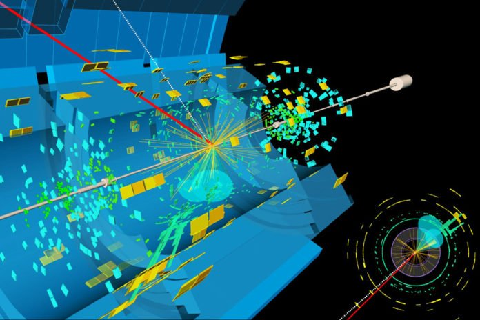 A candidate event display for the production of a Higgs boson decaying to two b-quarks (blue cones), in association with a W boson decaying to a muon (red) and a neutrino. The neutrino leaves the detector unseen, and is reconstructed through the missing transverse energy (dashed line)