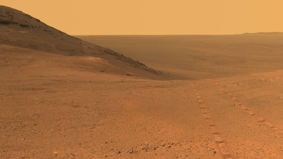 Opportunity's panoramic camera (Pancam) took the component images for this view from a position outside Endeavor Crater during the span of June 7 to June 19, 2017. Toward the right side of this scene is a broad notch in the crest of the western rim of crater