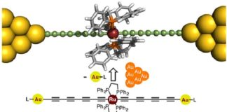 """Structure of the proposed metallapolyyne molecular wire The proposed wire is """"doped"""" with a ruthenium unit that enhances its conductance to unprecedented levels compared with previously reported similar molecular wires."""