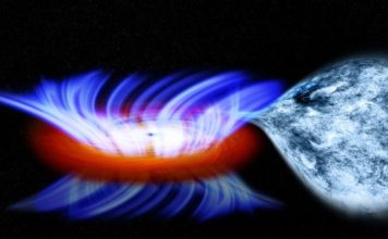 This artist's impression shows a binary system containing a stellar-mass black hole called IGR J17091-3624, or IGR J17091 for short. The strong gravity of the black hole, on the left, is pulling gas away from a companion star on the right. This gas forms a disk of hot gas around the black hole, and the wind is driven off this disk. Credit: NASA/CXC/M.Weiss