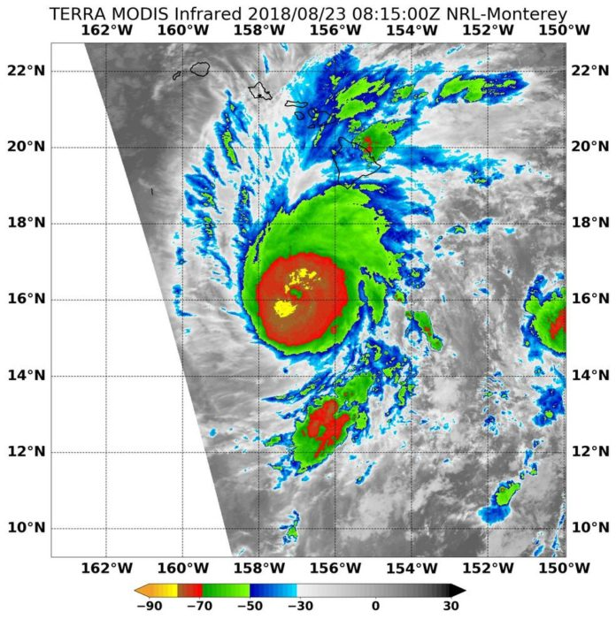 On Aug. 23 at 4:15 a.m. EDT (0815 UTC) NASA's Terra satellite found the coldest temperatures of the strongest thunderstorms (yellow) in Hurricane Lane were as cold as or colder than minus 80 degrees Fahrenheit (minus 62.2 Celsius) northeast and southwest of the eye. They were embedded in a large area of storms (red) that circled the eye where cloud top temperatures were as cold as or colder than minus 70 degrees Fahrenheit (minus 56.6 degrees Celsius)
