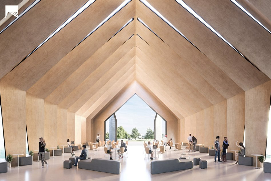 View of the Longhouse interior during a co-working staging Image: MIT Mass Timber Design