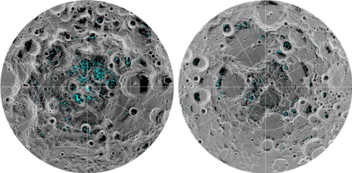 The image shows the distribution of surface ice at the Moon's south pole (left) and north pole (right), detected by NASA's Moon Mineralogy Mapper instrument. Blue represents the ice locations, plotted over an image of the lunar surface, where the gray scale corresponds to surface temperature (darker representing colder areas and lighter shades indicating warmer zones). The ice is concentrated at the darkest and coldest locations, in the shadows of craters. This is the first time scientists have directly observed definitive evidence of water ice on the Moon's surface