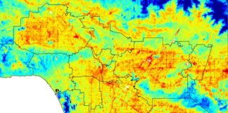 ECOSTRESS captured surface temperature variations in Los Angeles, CA in the early morning hours of July 22. Hot areas are shown in red, warm areas in orange and yellow, and cooler areas in blue. Credits: NASA/JPL-Caltech
