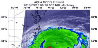 At 2:20 a.m. EDT (0620 UTC) on Sept. 13, the MODIS instrument aboard NASA's Aqua satellite looked at Hurricane Florence in infrared light. MODIS found a small ring of coldest cloud top temperatures around the eye, as cold as or colder than minus 80 degrees (yellow) Fahrenheit (minus 112 degrees Celsius). Surrounding the eye were thick rings of powerful storms with cloud tops as cold as or colder than minus 70 degrees (red) Fahrenheit (minus 56.6 degrees Celsius). Credit: NASA/NRL