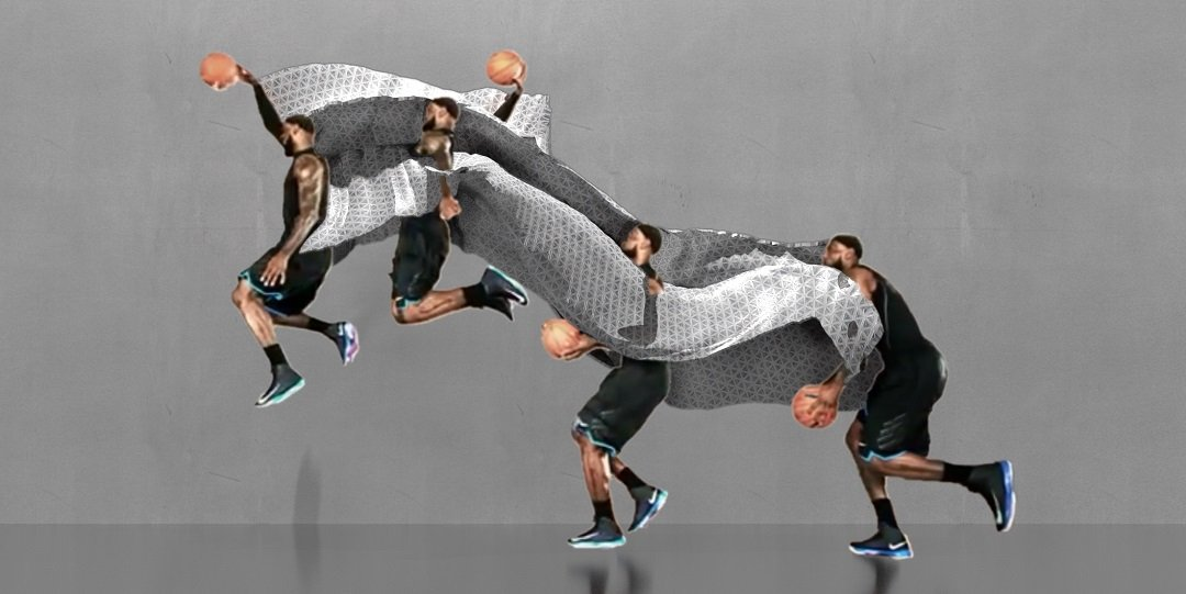 "The system first detects 2-D ""keypoints"" on the subject's body, and turns these poses into a series of 3-D ""skeletons"" that are stitched together to generate a motion sculpture.  Image courtesy of MIT CSAIL"