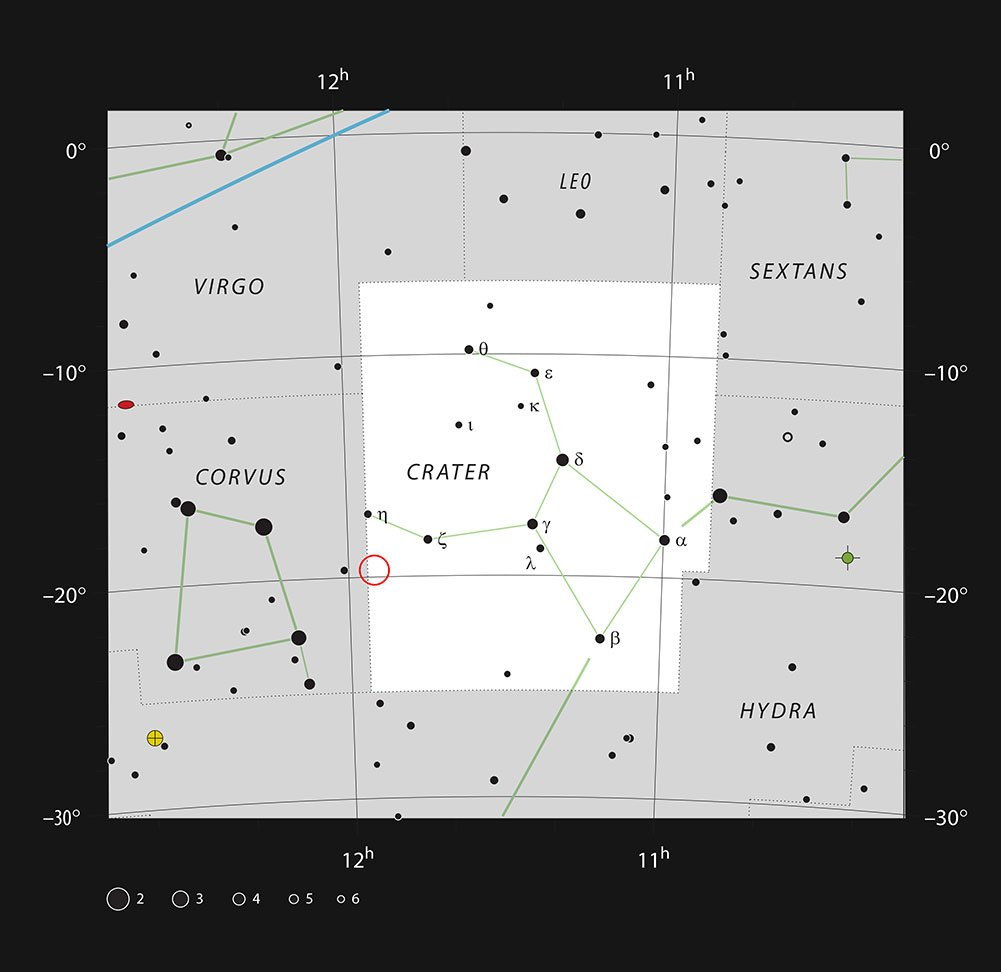 This chart shows the location of the spiral galaxy NGC 3981 in the constellation of Crater (The Cup). The map shows most of the stars visible to the unaided eye under good conditions, and the region of sky shown in this image is indicated.