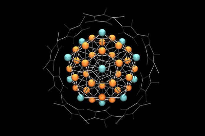 43 copper and 12 aluminum atoms form a cluster that has the properties of an atom. This heterometallic superatom is the largest ever produced in a laboratory.