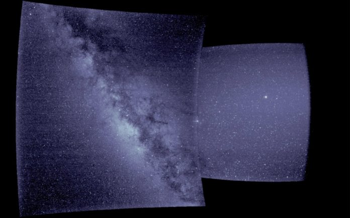 The right side of this image — from WISPR's inner telescope — has a 40-degree field of view, with its right edge 58.5 degrees from the Sun's center. The left side of the image is from WISPR's outer telescope, which has a 58-degree field of view and extends to about 160 degrees from the Sun. There is a parallax of about 13 degrees in the apparent position of the Sun as viewed from Earth and from Parker Solar Probe. Credit: NASA/Naval Research Laboratory/Parker Solar Probe