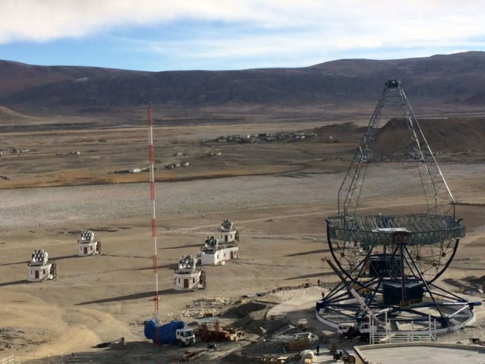A view of upcoming MACE telescope next to the Hagar array at Hanle in Ladakh. The new 4 meter telescope will also be installed in this area.
