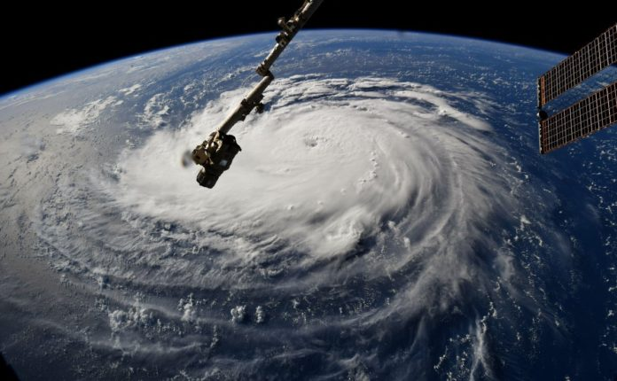 Hurricane Florence as seen from the International Space Station on Monday, September 10, 2018