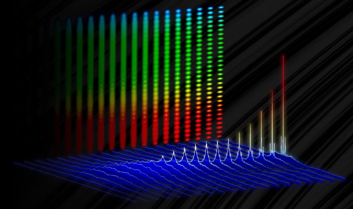 "Illustration depicting how specific frequencies, or colors, of light (sharp peaks) emerge from the electronic background noise (blue) in NIST's ultrafast electro-optic laser. The vertical backdrop shows how these colors combine to create an optical frequency comb, or ""ruler"" for light. Credit: D. Carlson/NIST"