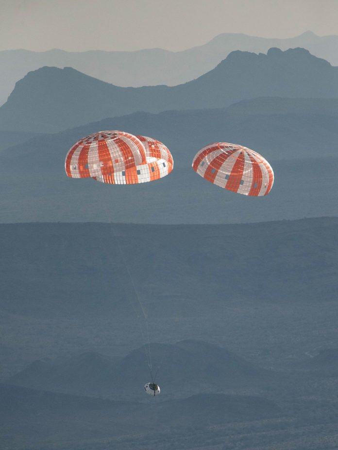 NASA successfully tested the Orion spacecraft's parachute system on March 16, 2018, at the U.S. Army Proving Ground in Yuma, Arizona, during which engineers integrated a partial system failure into the test protocol for the first time. For its final test on Sept. 12, 2018, an Orion test capsule will be dropped from a C-17 aircraft at an altitude of more than six miles to verify the spacecraft's complex parachute system provides a safe landing on Earth.