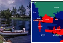 Example of image in the COCO dataset (left) and its pixel-wise semantic labeling (right). Image credit: Florida Memory,