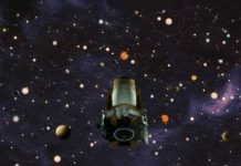 This illustration depicts NASA's exoplanet hunter, the Kepler space telescope. The agency announced on Oct. 30, 2018, that Kepler has run out of fuel and is being retired within its current and safe orbit, away from Earth. Kepler leaves a legacy of more than 2,600 exoplanet discoveries. Credits: NASA/Wendy Stenzel/Daniel Rutter