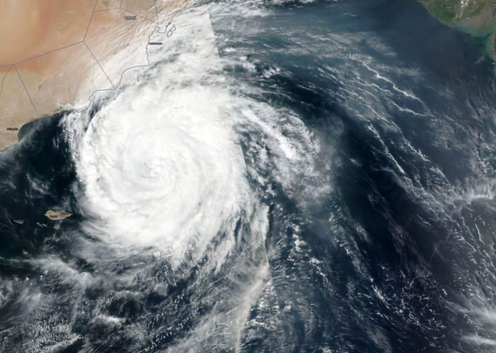 NASA-NOAA's Suomi NPP satellite passed over the Northern Indian Ocean and captured a visible image of Tropical Cyclone Luban nearing Oman's coast on Oct. 11. Credit: NASA Worldview, Earth Observing System Data and Information System (EOSDIS)/NOAA