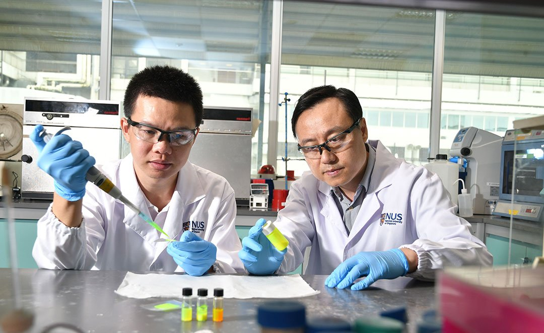 Prof Liu Xiaogang (right) and Dr Chen Qiushui (left) developed perovskite nanocrystals which, when used as a scintillator material in X-ray imaging, reduce the required radiation dose to deliver higher resolution imaging. Credit: National University of Singapore