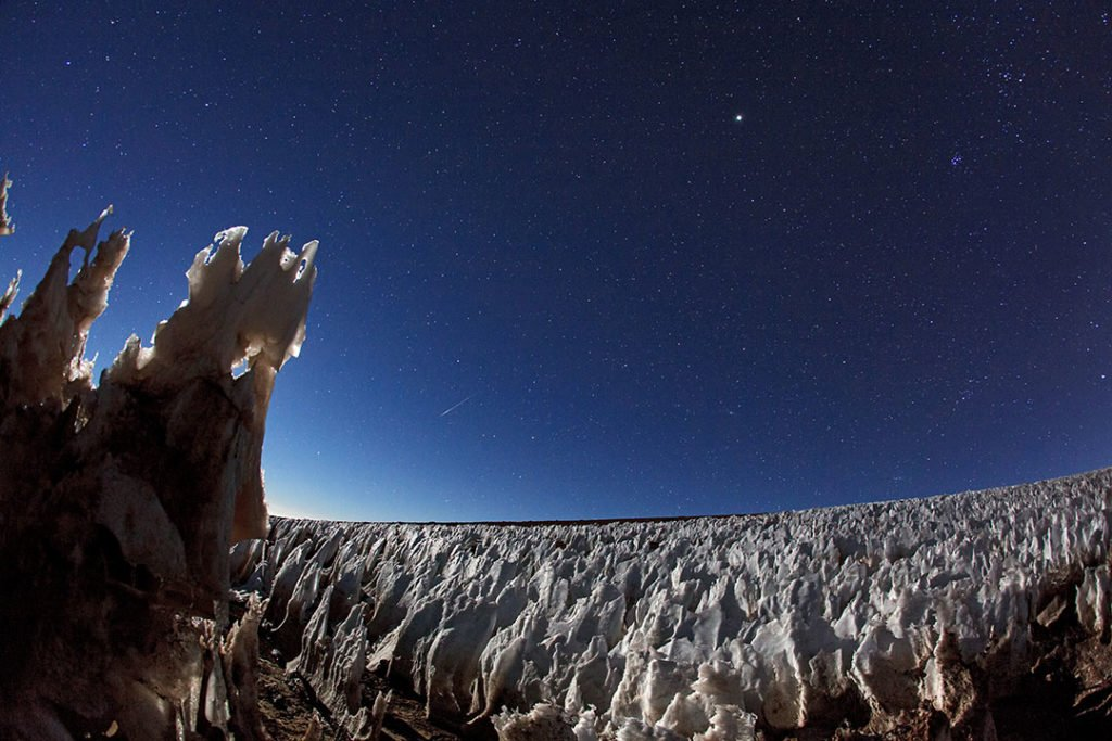 Penitentes in the Atacama Desert in Chile.