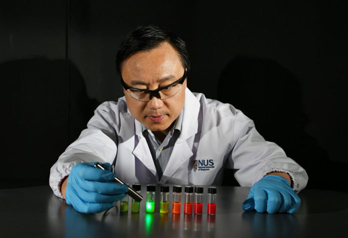 A team led by Prof Liu Xiaogang developed perovskite nanocrystals (in the bottles) that are highly sensitive to X-ray irradiation. Credit: National University of Singapore
