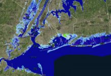 Parts of New Jersey and New York with 8 feet of sea-level rise. An almost 8-foot rise is possible by 2100 under a worst-case scenario, according to projections. The light-blue areas show the extent of permanent flooding. The bright green areas are low-lying. CREDIT NOAA Sea Level Rise Viewer