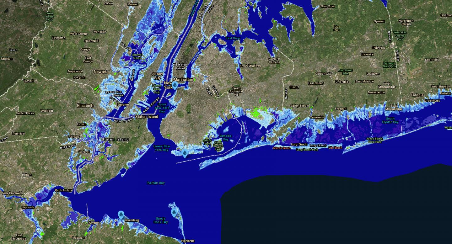 Foot Sea Level Rise Map on