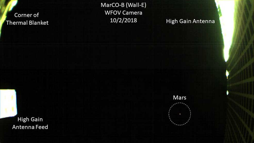 One of NASA's twin MarCO spacecraft took this image of Mars on October 2 -- the first time a CubeSat, a kind of low-cost, briefcase-sized spacecraft -- has done so. Credits: NASA/JPL-Caltech