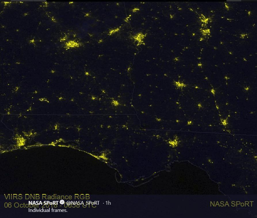 Hurricane Michael's Path of Power Outages Seen by Satellite