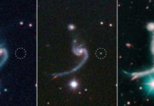 The three panels represent moments before, during, and after the faint supernova iPTF14gqr, visible in the middle panel, appeared in the outskirts of a spiral galaxy located 920 million light years away. The massive star that died in the supernova left behind a neutron star in a very tight binary system. These dense stellar remnants will ultimately spiral into each other and merge in a spectacular explosion, giving off gravitational and electromagnetic waves. Credit: SDSS/Caltech/Keck