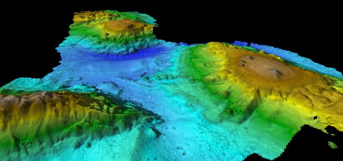 Multibeam mapping of seamount chain