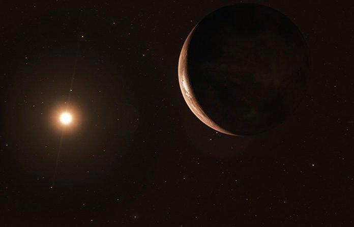 Barnard's star artist's impression, orbiting the star of Barnard. Credit ESO-M. Kornmesser