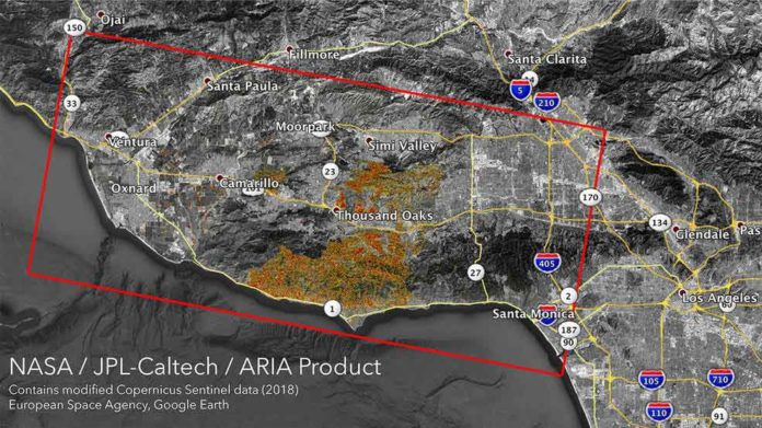 The Advanced Rapid Imaging and Analysis (ARIA) team at NASA's Jet Propulsion Laboratory in Pasadena, California, created these Damage Proxy Maps (DPMs) depicting areas in California likely damaged by the Woolsey and Camp Fires.