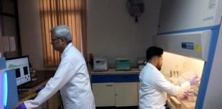 Dr. Dheeman Sarkar and Dr. S. Chakrabarty working in the lab