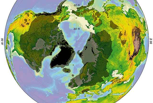 An illustration depicting the minimum (interglacial, black) and maximum (glacial, grey) glaciation of the northern hemisphere during the ice age that began about 3.2 million years ago. (Image courtesy of Hannes Grobe/AWI/Wikimedia Commons)