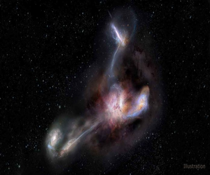 This artist's impression shows galaxy WISE J224607.55-052634.9, the most luminous galaxy ever discovered. A new study using data from the Atacama Large Millimeter/submillimeter Array (ALMA) shows that this galaxy is syphoning dust and other material from three of its smaller galactic neighbors. (NRAO/AUI/NSF) S. Dagnello