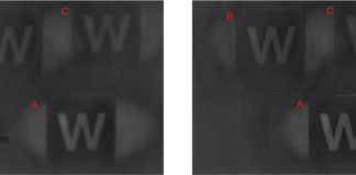A block letter W imaged by three different prototype metalenses (A, B and C) using different mathematical models — both without (left) and with (right) computational postprocessing.Liu et al., Nano Letters, 2018