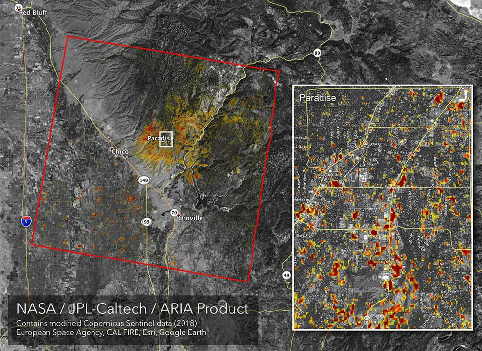 New map showing camp fire damage in Northern California   Tech