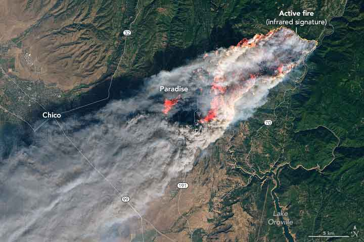 Satellites and ground sensors observe smoke blanketing California