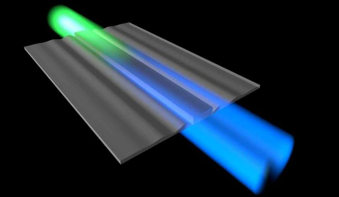 Cooling sound waves with light involves converting sound energy into light energy, which changes the color of the light. (Image credit: Eric Kittlaus and Nils Otterstrom)